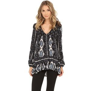 FREE PEOPLE DOWN BY THE BAY BLUE AND BLACK TUNIC